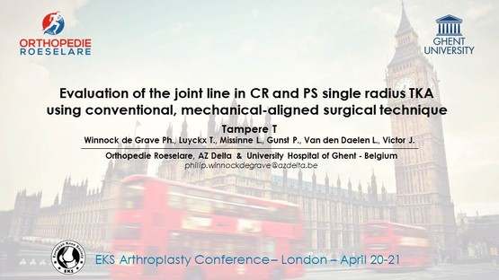 Internationaal EKS Congres London - Orthopedie Roeselare over knieprothese - Dr. T. Luyckx, Dr. T. Tampere & Dr. Ph. Winnock de Grave