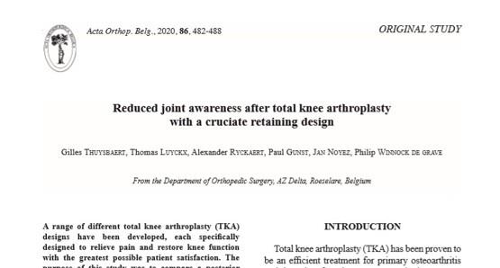 Nieuwe studie over resultaten na knieprothese gepubliceerd in peer reviewed tijdschrift