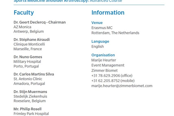 Sports Medicine Shoulder Arthroscopy Advanced Course in Rotterdam - Dr. Stijn Muermans